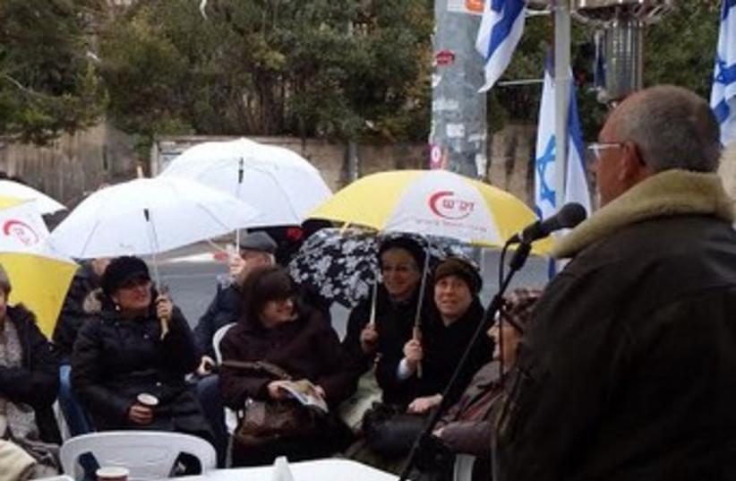 Prof. Arieh Eldad speaking to Women in Green  (photo credit: Courtesy)