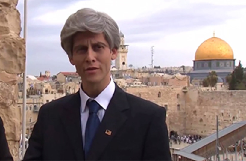 Actor plays US Sec of State Kerry in spoof‏ (photo credit: COUNCIL OF JEWISH COMMUNITIES OF JUDEA AND SAMARIA,MYISRAEL)