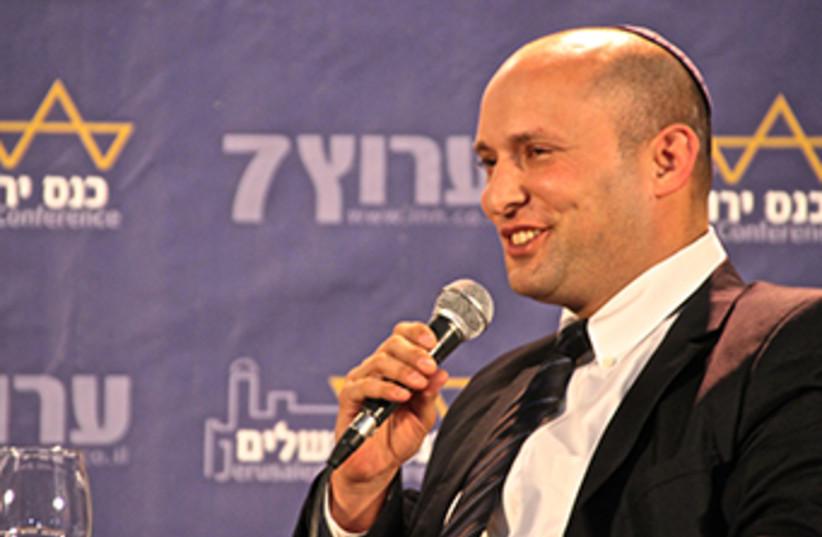 Economy Minister Naftali Bennett speaks at Jerusalem Conference (photo credit: TOVAH LAZAROFF)