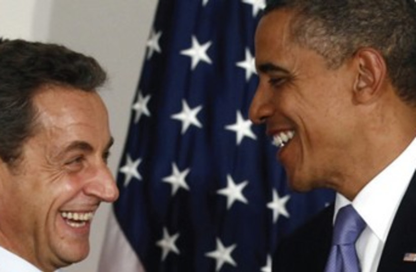 DIRECT UNFILTERED substantiation of bias – Obama and Sarkozy at Cannes in November 2011. (photo credit: REUTERS)