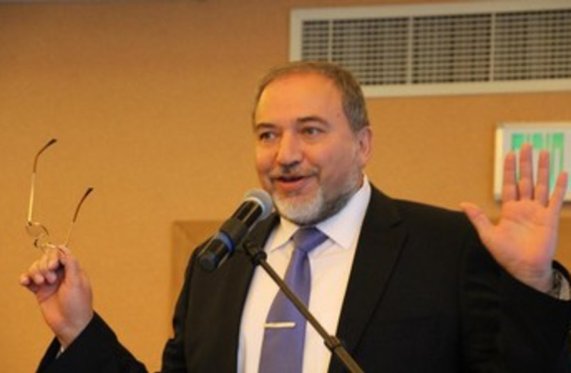 Foreign Minister Avigdor Liberman, February 7, 2014. (photo credit: TOVAH LAZAROFF)