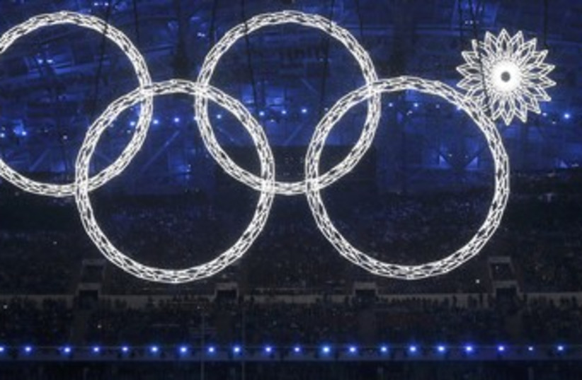 Four Olympic rings, Sochi opening ceremonies. (photo credit: REUTERS)