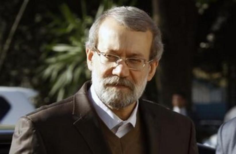 Iran's parliamentary speaker Ali Larijani in Tunisia, February 7, 2014. (photo credit: REUTERS)