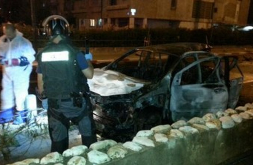 Aftermath of car bomb in Tel Aviv. (photo credit: COURTESY ISRAEL POLICE)