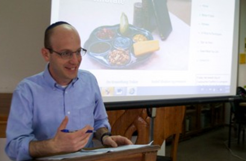 Rabbi Dr. Daniel Roth of Pardes teaching about the International Jewish Day of Constructive Conflict. (photo credit: ANDREA WIESE)