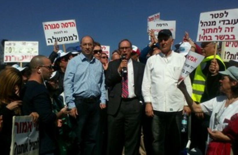 Hadassah medical workers protest in Jerusalem, February 10, 2014. (photo credit: JERUSALEM POST)