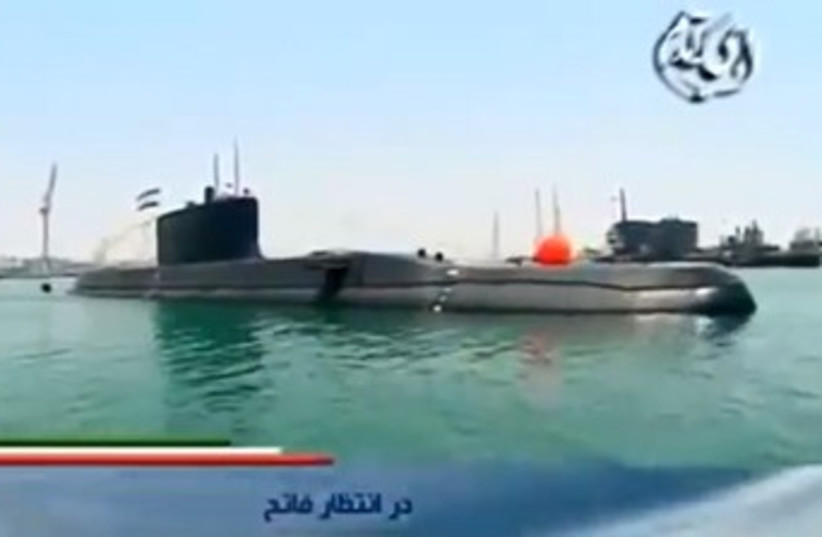 Iran's new Fateh-class submarine (photo credit: YOUTUBE SCREENSHOT)