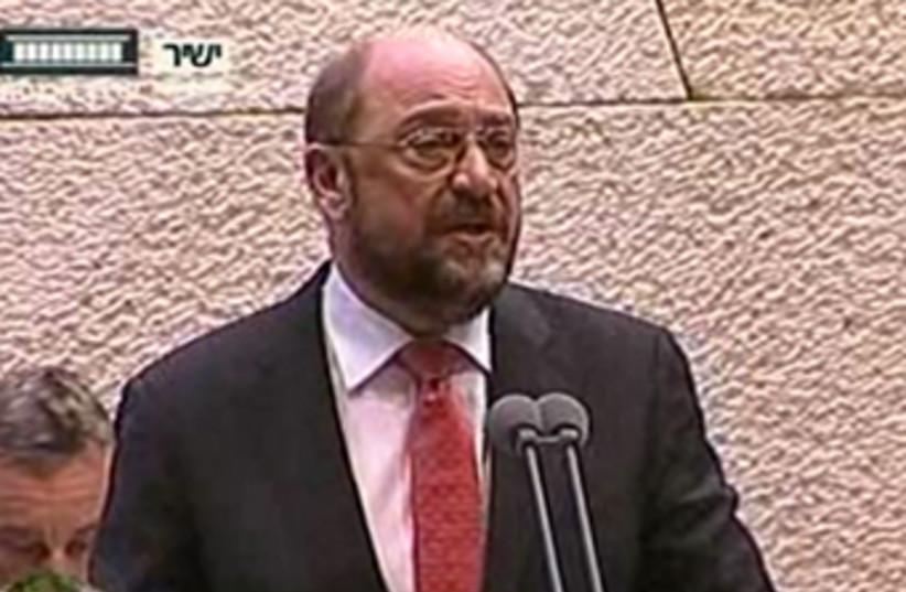 European Parliament President Martin Schulz addresses Knesset, Feb 12, 2013 (photo credit: KNESSET CHANNEL)