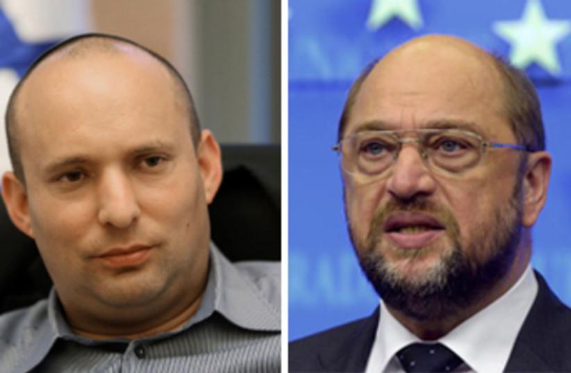Bennett and Schulz (photo credit: REUTERS)