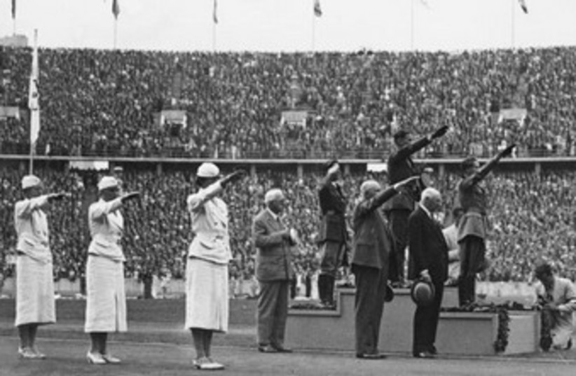 Awards ceremony for Pentathalon event, 1936 Summer Olympics, Berlin. (photo credit: Wikimedia Commons)