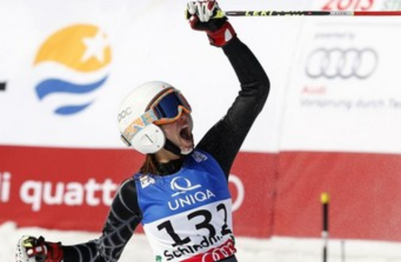 Lebanese skiier Jackie Chamoun during a competition last year in Austria. (photo credit: REUTERS)