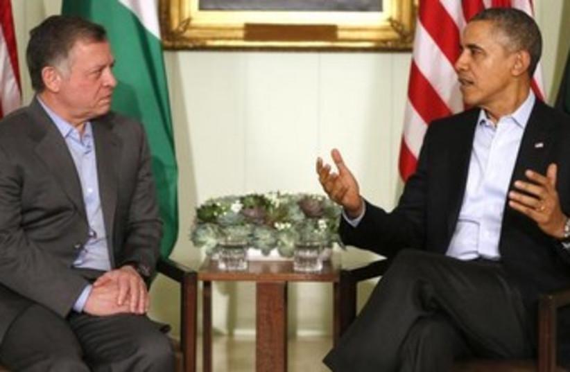 US President Barack Obama (R) and Jordan's King Abdullah meet in California. (photo credit: REUTERS)