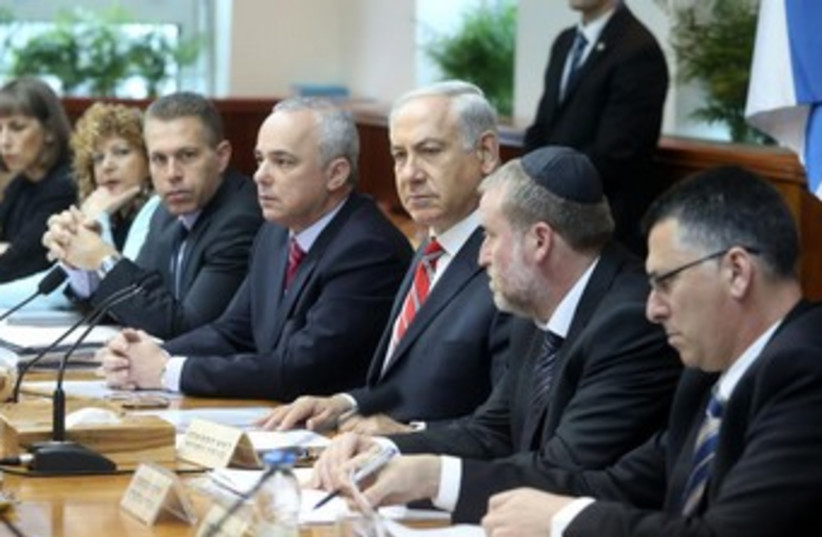 PM Binyamin Netanyahu at Cabinet meeting. (photo credit: MARC ISRAEL SELLEM)