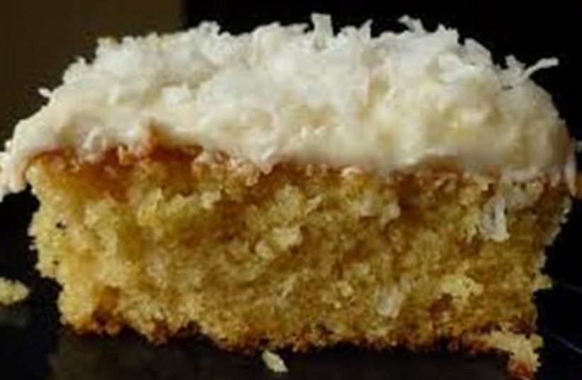 Dreamy coconut cake (photo credit: LAURA FRANKEL)