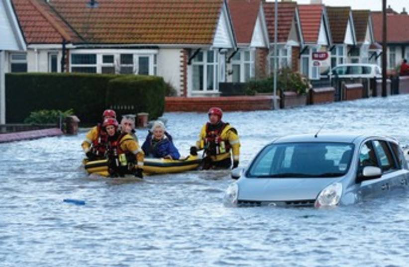Flooding in England (photo credit: REUTERS)