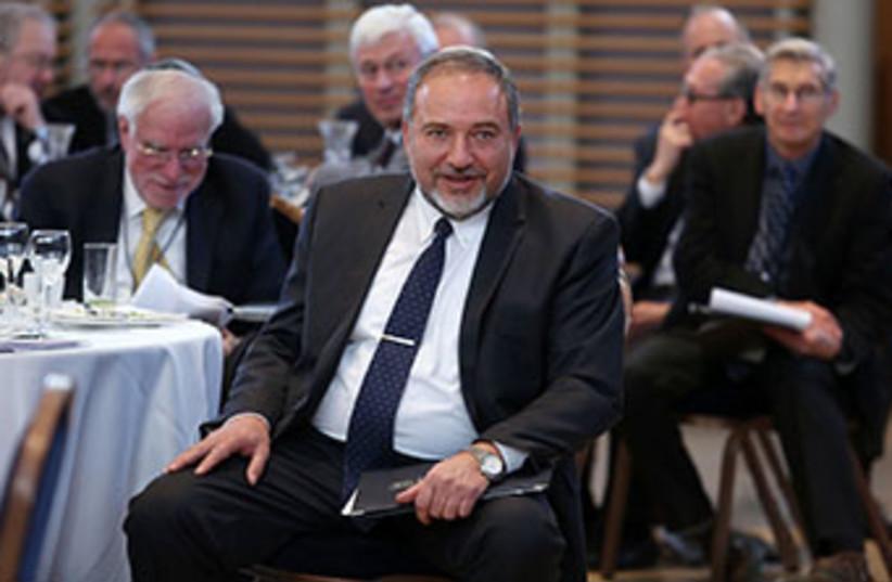 FM Liberman speaks to Jewish leaders, February 18, 2014 (photo credit: MARC ISRAEL SELLEM/THE JERUSALEM POST)