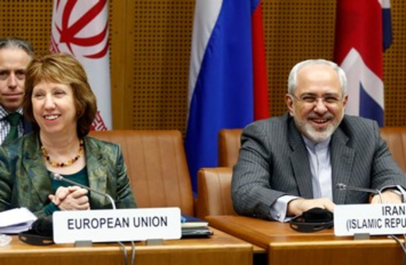 The EU's Ashton and Iran's Zarif in Vienna, February 18, 2014. (photo credit: REUTERS)