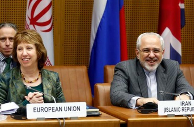 The EU's Ashton and Iran's Zarif in Vienna, February 18, 2014. (photo credit: REUTERS)