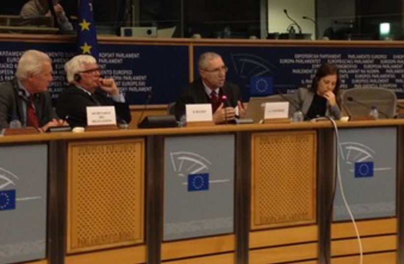 Gerald Steinberg delivers address in Brussels (photo credit: Courtesy)