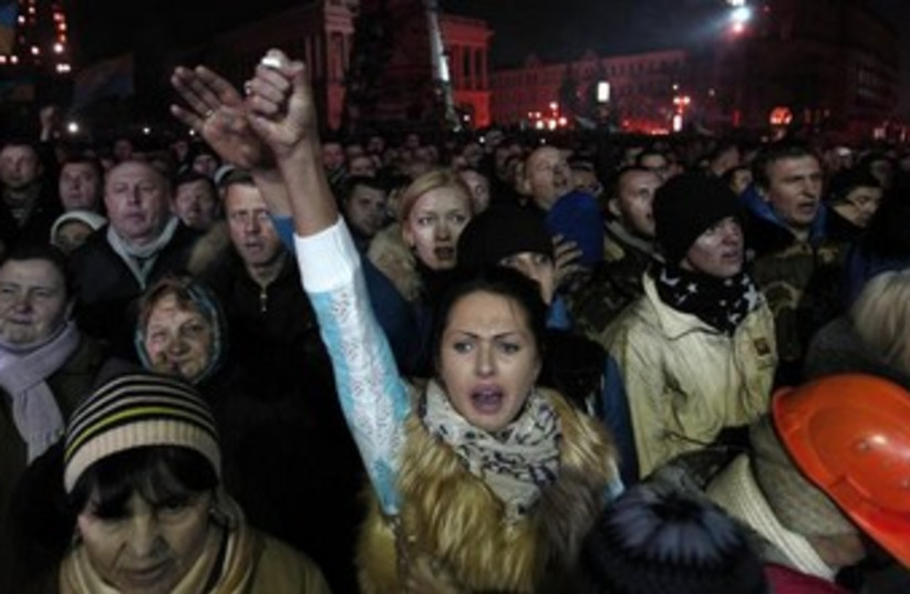 Ukrainian protesters in Kiev demonstrate against the government. (photo credit: REUTERS)