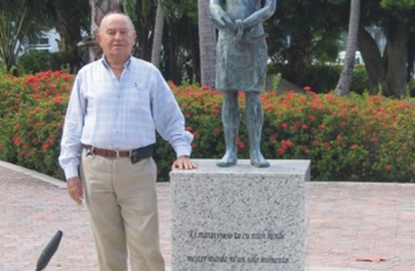 DAVID CYBUL, the Aruba Jewish community leader, in front of the Anne Frank memorial. (photo credit: BEN G. FRANK)