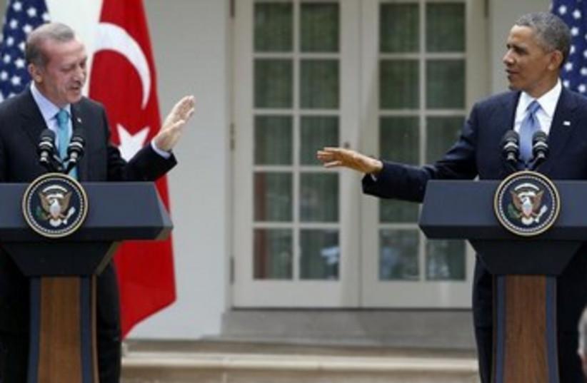 US President Barack Obama and Turkish PM Recep Tayyip Erdogan in Washington. (photo credit: REUTERS)