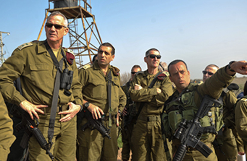 IDF Chief of Staff Benny Gantz tours Golan Heights (photo credit: COURTESY IDF SPOKESMAN'S OFFICE)