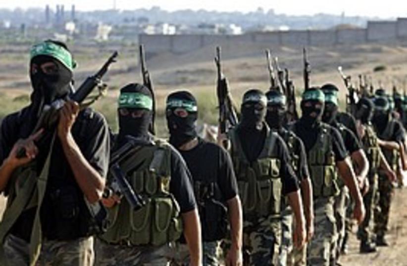 hamas gunmen training (photo credit: AP)