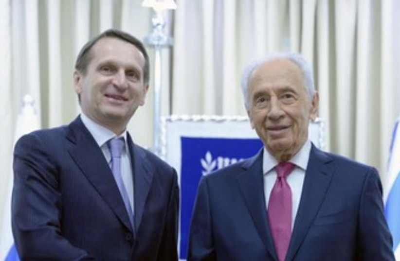Chairman of the Russian State Duma Sergey Naryshkin meets with President Peres (photo credit: Mark Neiman/GPO)