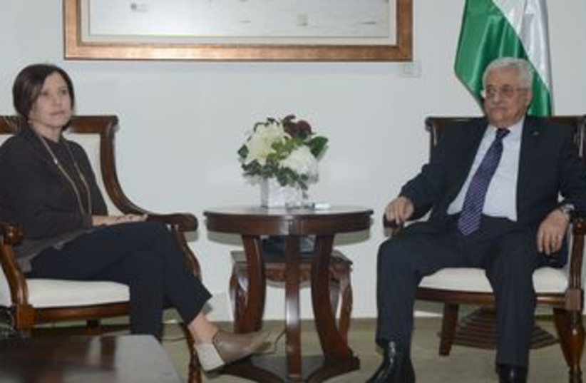 Abbas meets with Meretz leader Gal-On (photo credit: Courtesy)