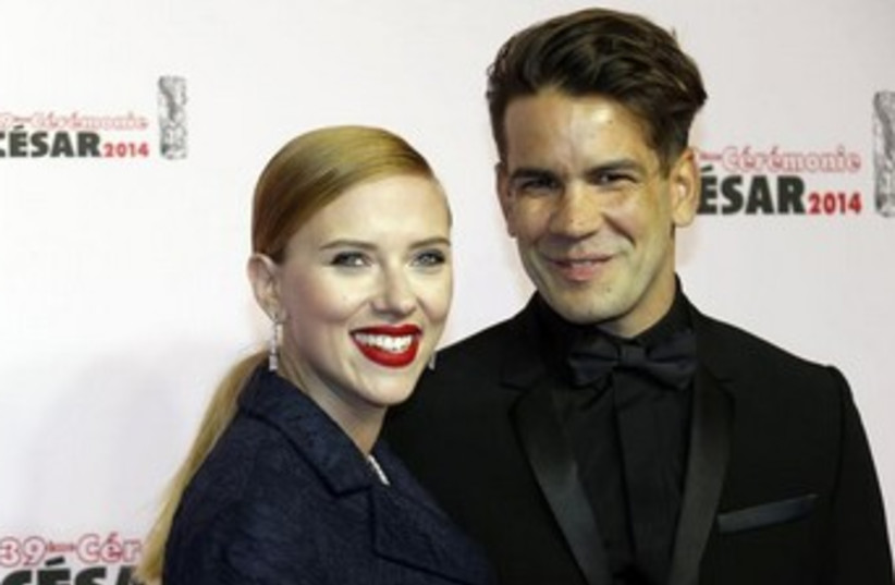 Scarlett Johansson and her fiancé Romain Dauriac. (photo credit: REUTERS)