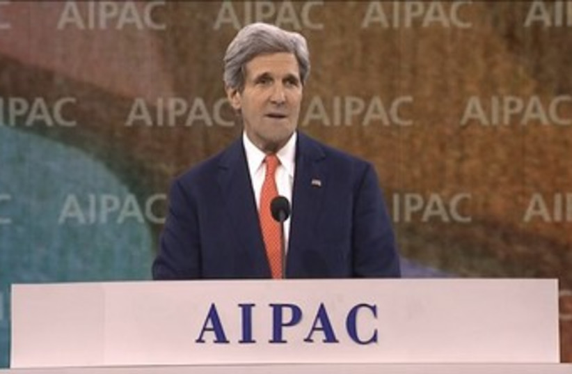 US Secretary of State John Kerry addresses the AIPAC annual policy confernce in Washington, March 3, 2014. (photo credit: screenshot)