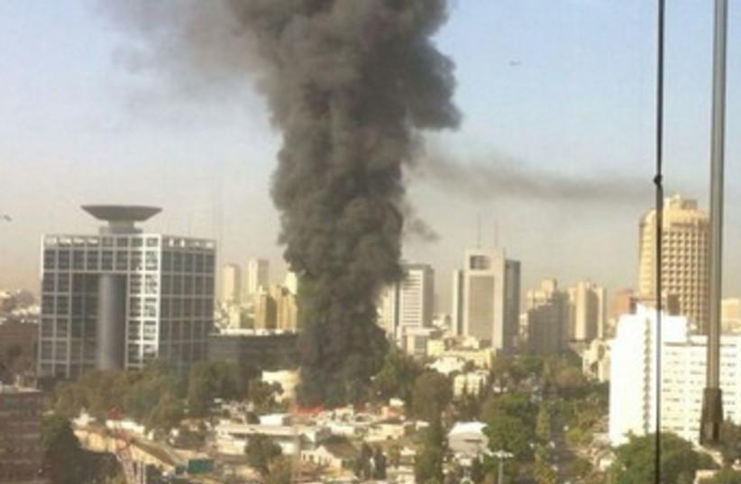 Fire at the Kirya. (photo credit: JPOST STAFF)