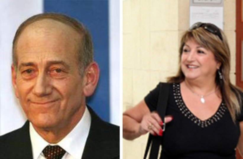 Former prime minister Olmert and his ex-bureau chief Shula Zaken (photo credit: REUTERS,MARC ISRAEL SELLEM/THE JERUSALEM POST)