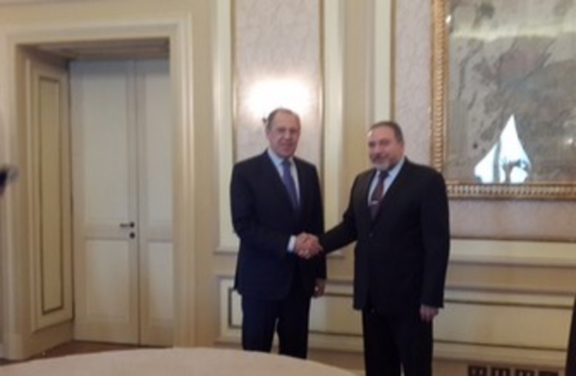 FM Liberman meets Russian FM Lavrov in Rome (photo credit: COURTESY FOREIGN MINISTRY)