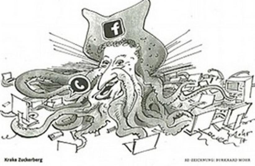 Mark Zuckerberg cartoon. (photo credit: Courtesy)