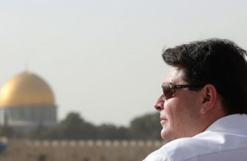 MK OFIR AKUNIS looks out over the Old City of Jerusalem (photo credit: MARC ISRAEL SELLEM/THE JERUSALEM POST)
