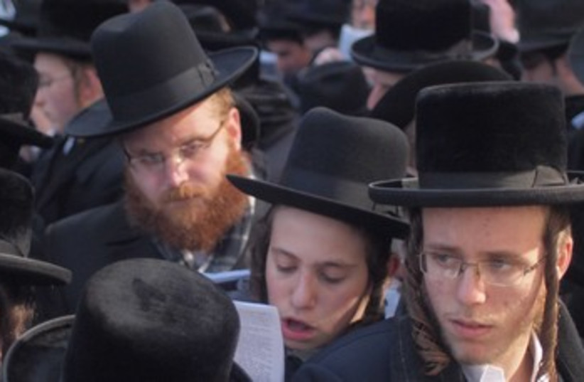 Haredi protest in NYC, March 9, 2014. (photo credit: SAM SOKOL)