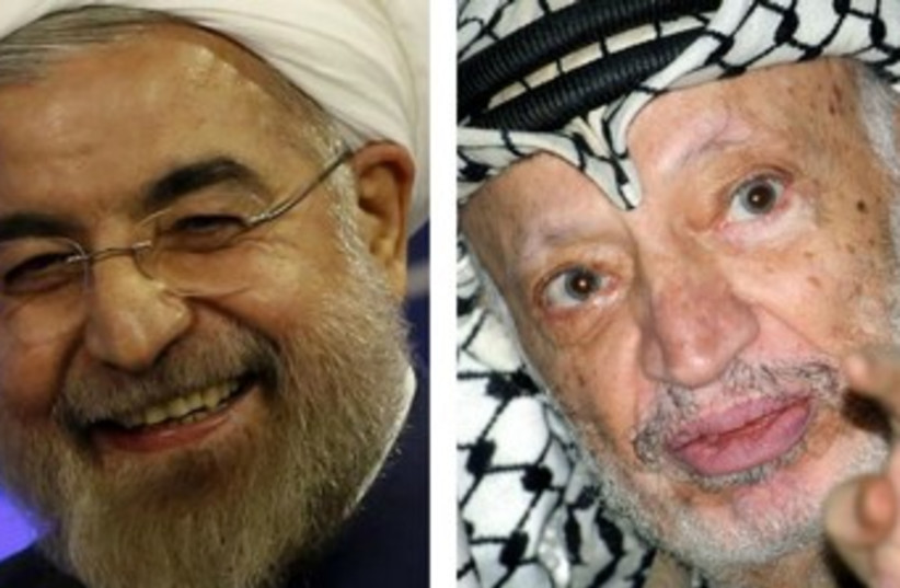 Iranian President Hassan Rouhani and late Palestinian leader Yasser Arafat (photo credit: REUTERS)