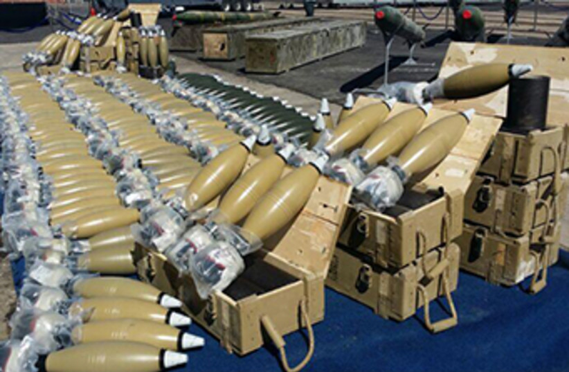 Mortars from Iran's weapons shipment to terrorists (photo credit: IDF)