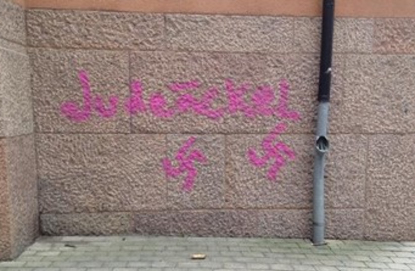 Graffiti on Stockholm school. (photo credit: Courtesy)
