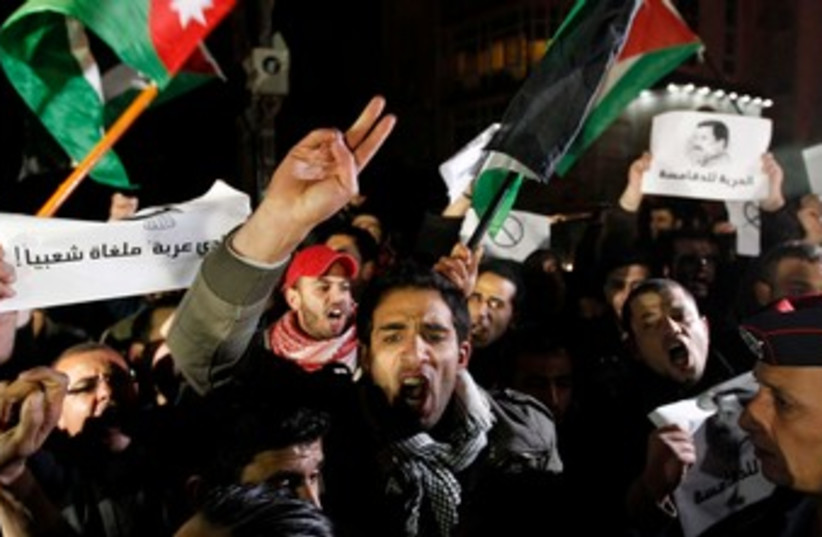 Jordanians protest death of man on Allenby crossing (photo credit: REUTERS)