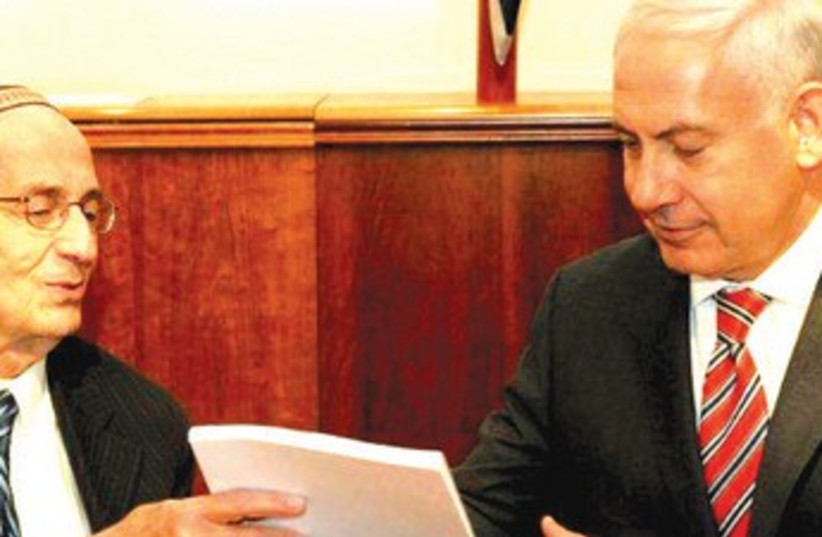 Edmund Levy and Netanyahu in 2011 (photo credit: FLASH 90)