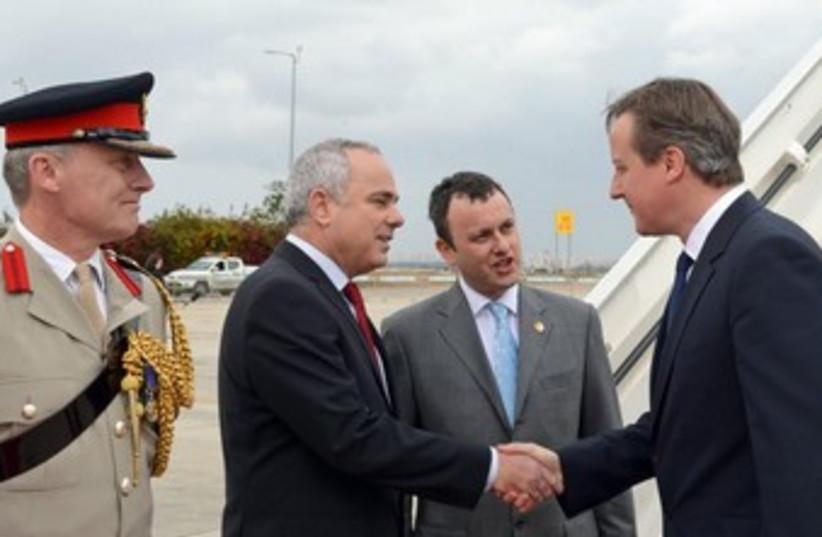 Steinitz greets Cameron at Ben-Gurion Airport (photo credit: GPO)