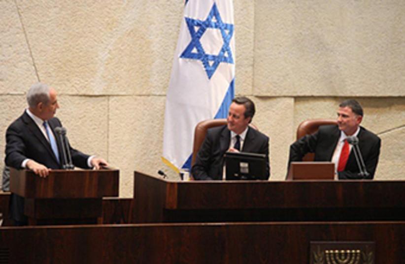 British Prime Minister David Cameron delivers address to Knesset (photo credit: Lahav Harkov)
