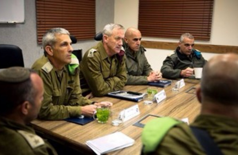IDF chief of staff Benny Gantz meets army officers in the south. (photo credit: COURTESY IDF SPOKESMAN'S OFFICE)