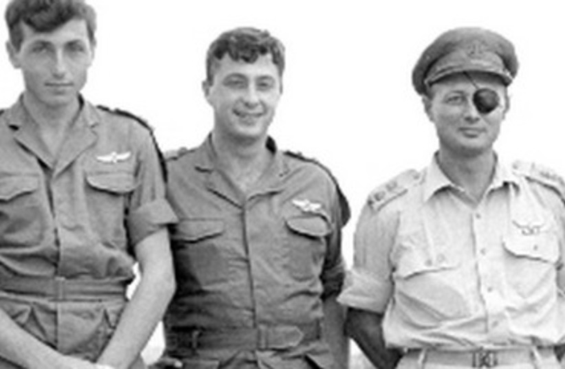Meir Har Zion (far left) with Moshe Dayan.  (photo credit: IDF)