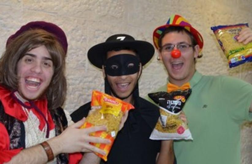 Pasta Purim noisemakers. (photo credit: JOSH ROSENBAUM)