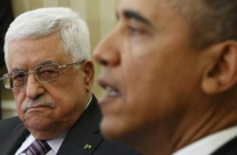 PA President Abbas with US President Obama, March 17 2014 (photo credit: REUTERS)