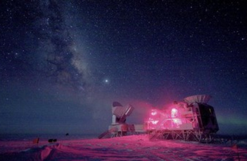 The 10-meter South Pole Telescope and the BICEP Telescope at Amundsen-Scott South Pole Station. (photo credit: REUTERS)